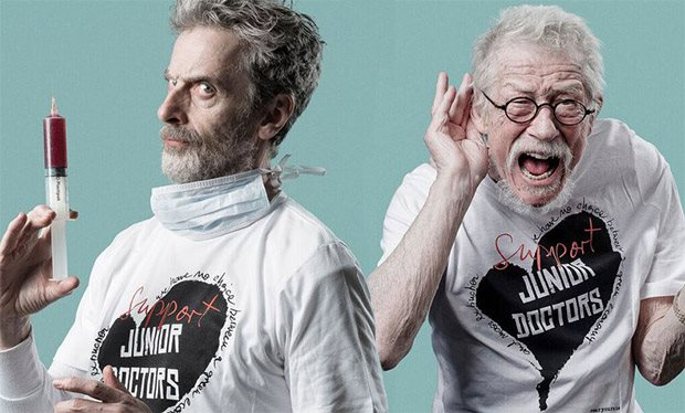 Sort-of-Doctors Peter Capaldi and John Hurt lend their support to the junior doctors' strike